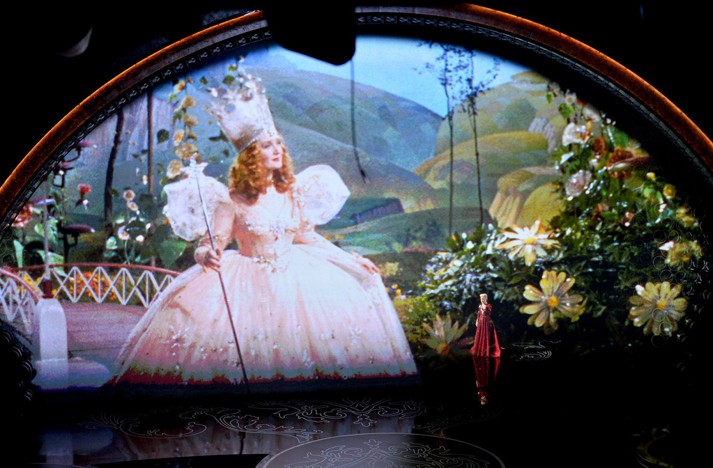 . Video tribute to \'The Wizard of Oz\' onstage during the Oscars at the Dolby Theatre on March 2, 2014 in Hollywood, California.  (Photo by Kevin Winter/Getty Images)