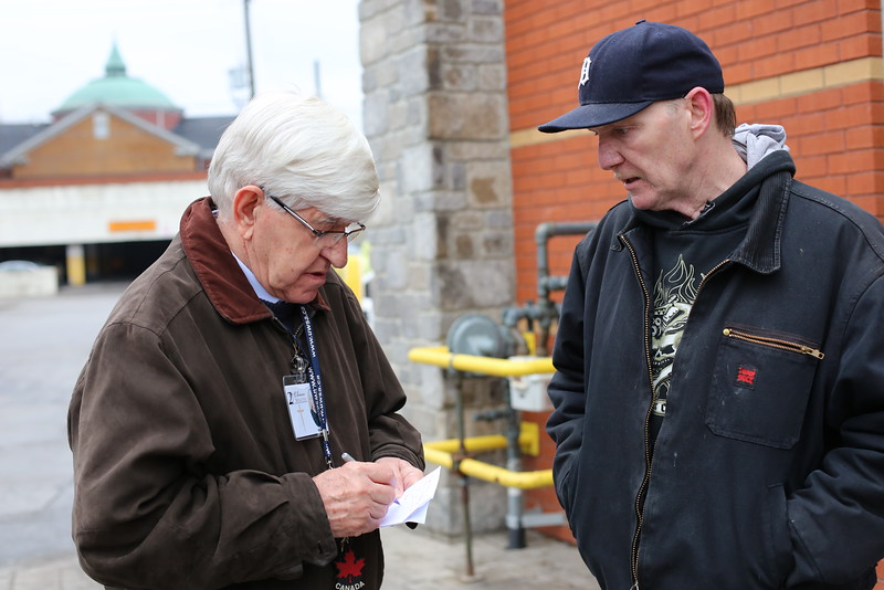 Michael Rovers arranges the delivery of some furniture to new Windsor resident, Richard Ross.