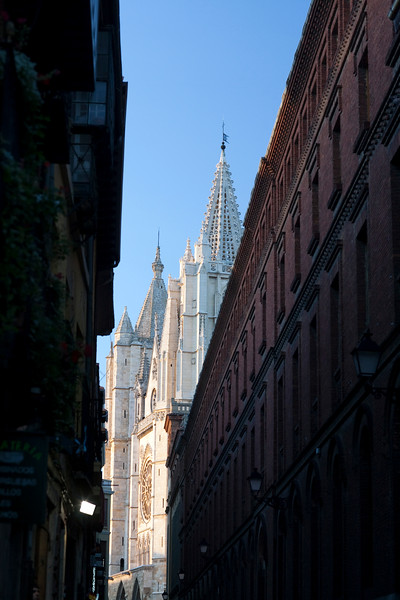The Cathedral from a nearby street, town of Leon, autonomous community of Castilla y Leon, northern Spain