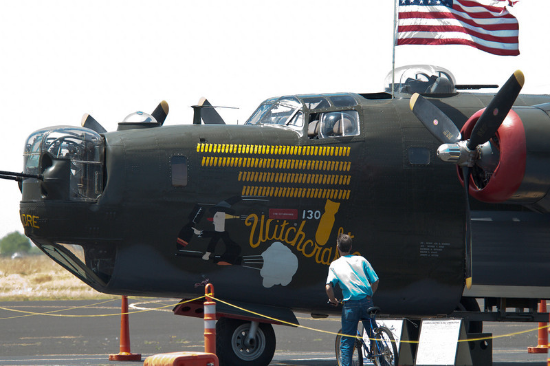 "WWII vintage B-24 ""Liberator"" on display by the Collins Foundation at the Lincoln, CA airport."