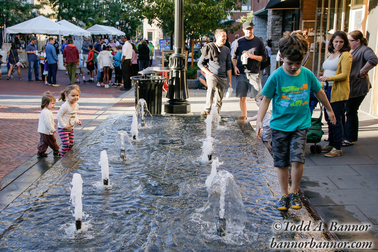 Fun at the fountain on Marion Street.