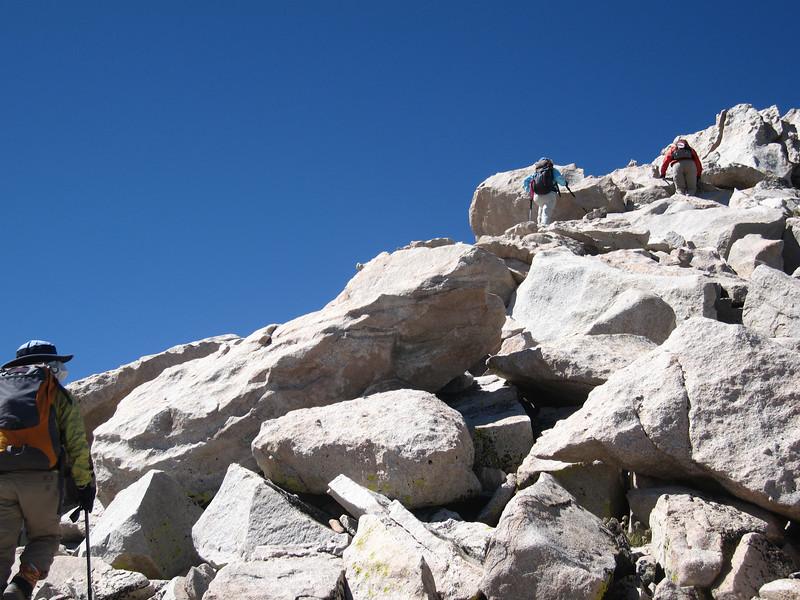 the ladies start up the east ridge