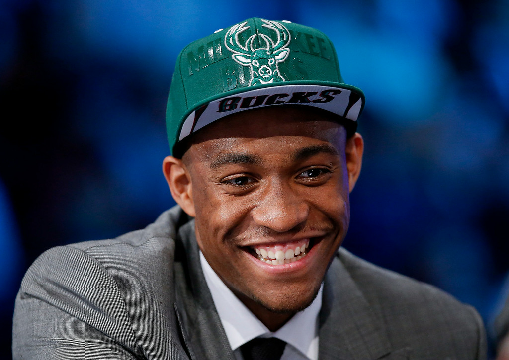 . Jabari Parker of Duke answers questions during an interview after being selected by the Milwaukee Bucks as the number two overall pick during the 2014 NBA draft, Thursday, June 26, 2014, in New York. (AP Photo/Kathy Willens)