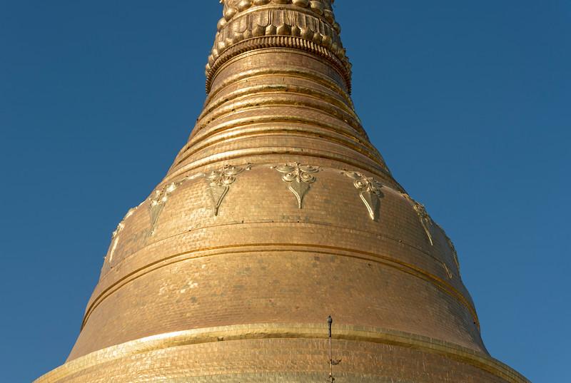 Close-up of dome of stupa, Shwedagon Pagoda, Yangon (Rangoon), Myanmar (Burma)
