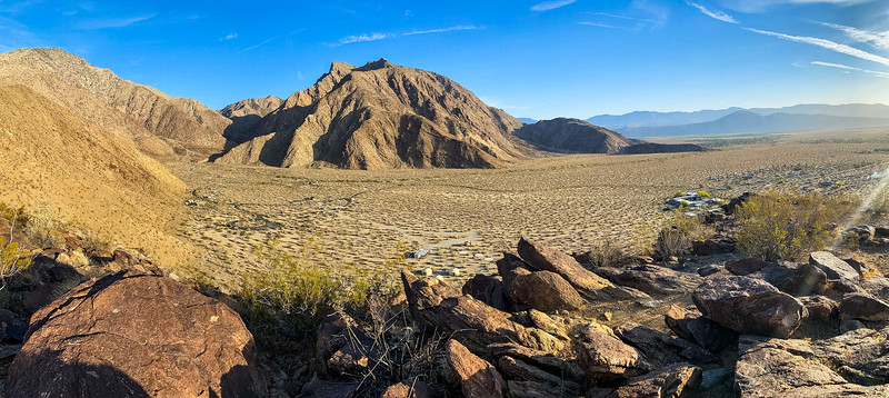 Panorama photo of the Palm Canyon Campground taken from Panorama Point