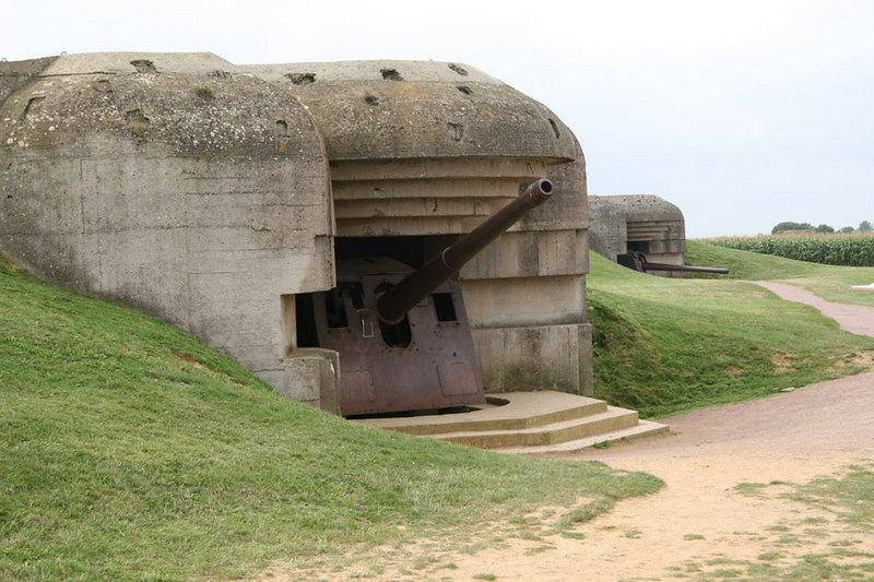 German guns at Longues-sur-Mer which overlooked both Gold and Omaha beaches during the D-Day invasion.