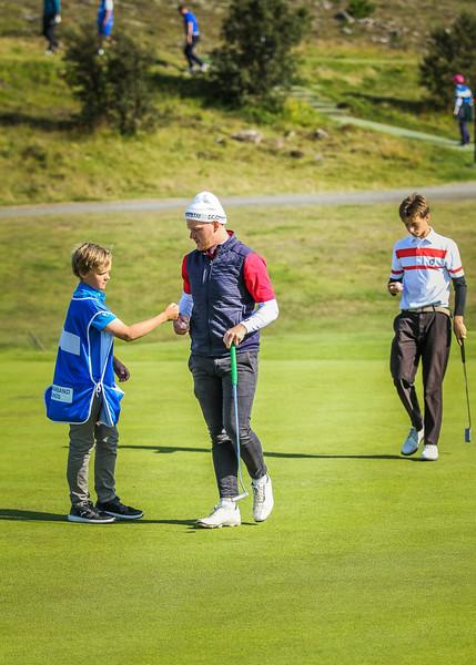Veigar Heiðarsson og Víðir Tómasson.  Íslandsmót í golfi 2019 - Grafarholt 2. keppnisdagur Mynd: seth@golf.is