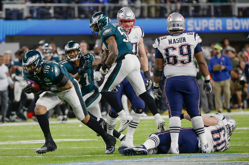 . Philadelphia Eagles defensive end Derek Barnett (96) recovers a fumble by New England Patriots quarterback Tom Brady, during the second half of the NFL Super Bowl 52 football game, Sunday, Feb. 4, 2018, in Minneapolis. (AP Photo/Frank Franklin II)