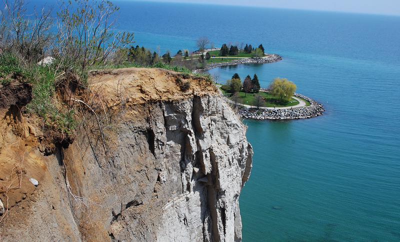 large cliffs that hang into the sea