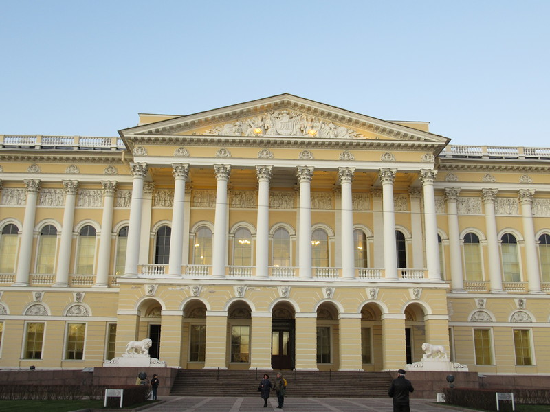 Yellow building with white columns in saint petersburg