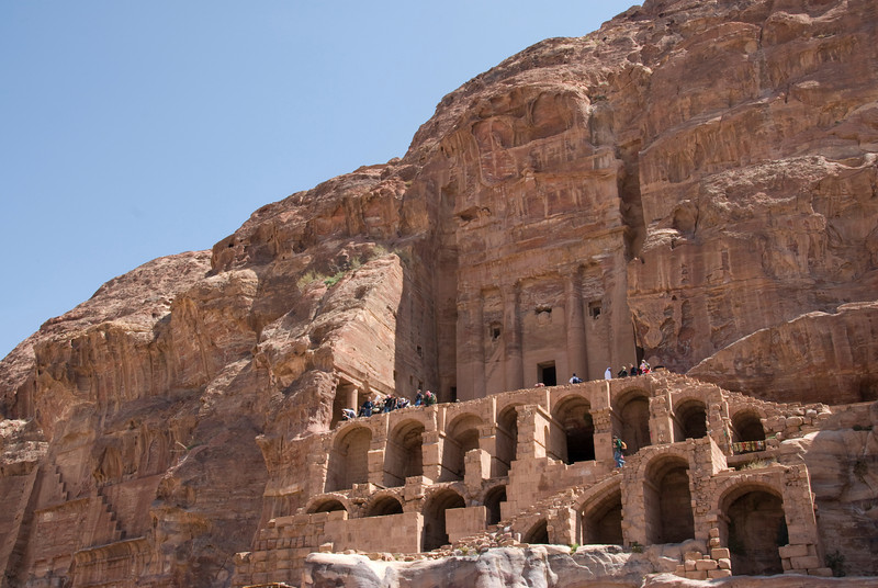 Stone cave dwellings in Petra, Jordan
