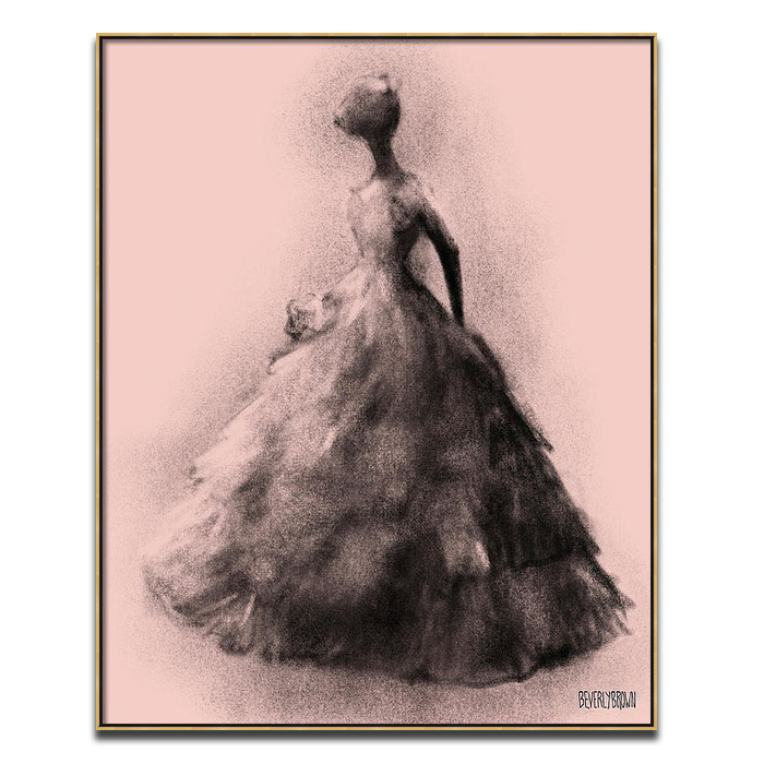 Blush Pink and Black Vintage Fashion Ball Gown Wall Art Print - Beverly Brown - beverlybrown.com