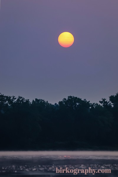Perfect sun through the filter of haze from Canadian wildfires.  Grays Bay, Lake Minnetonka, MN