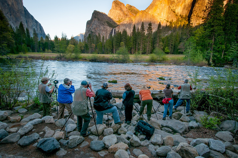 Photographers shooting the Yosemite Valley in California