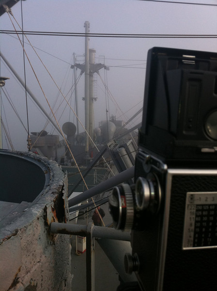 Shooting on the Merchant Marine ship Jeremiah O'Brien with my Rollie 2.8E. They only let me on that day (private party) because of the Rollie.