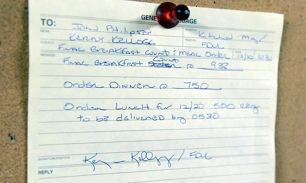 . An order for 938 breakfasts, 750 dinners and 500 lunches is tacked to the wall in the mobile kitchen in the firefighters base camp for the Pfeiffer Ridge Fire in Pfeiffer Big Sur State Park on Friday December 20, 2013. (Photo David Royal/ Monterey County Herald)
