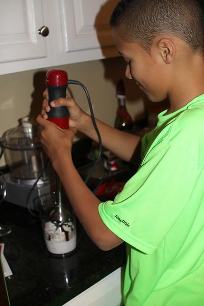 making a milkshake with the new blender