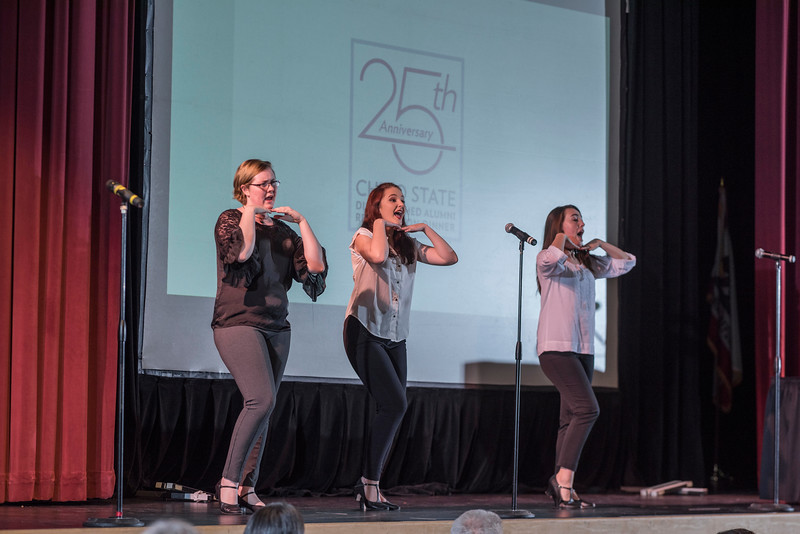 Tour Troupe provide the performance for the Distinguished Alumni are recognized during an evening dinner on Friday, March 9, 2018 in Chico, Calif.  (Jason Halley/University Photographer/CSU Chico)
