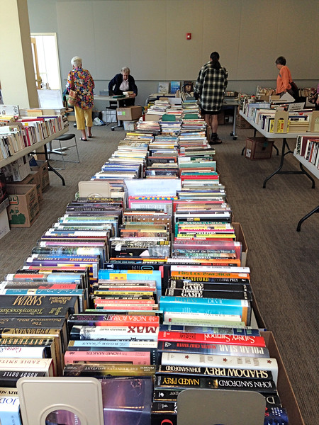 FICTION Section   --- many tables AND boxes under these tables!