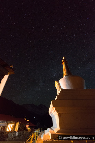 The main stupa of Tengboche. Mt Everest is the high point of the distant range.