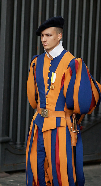One of the Swiss Guards at Saint Peter's Square.