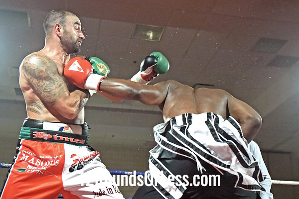 Bout 5 Josh Himes, Monaca PA, Red/Wht/Blk Trunks -vs- Lamont Capers, Hawley, PA, Blk/White Trunks, Cruiserweights