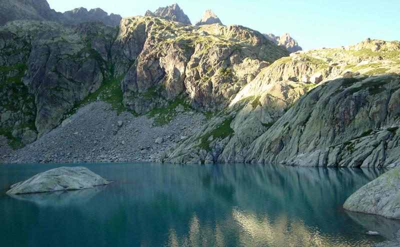 Lac Blanc dusk 1 Aiguilles Rouges France 2009.jpg