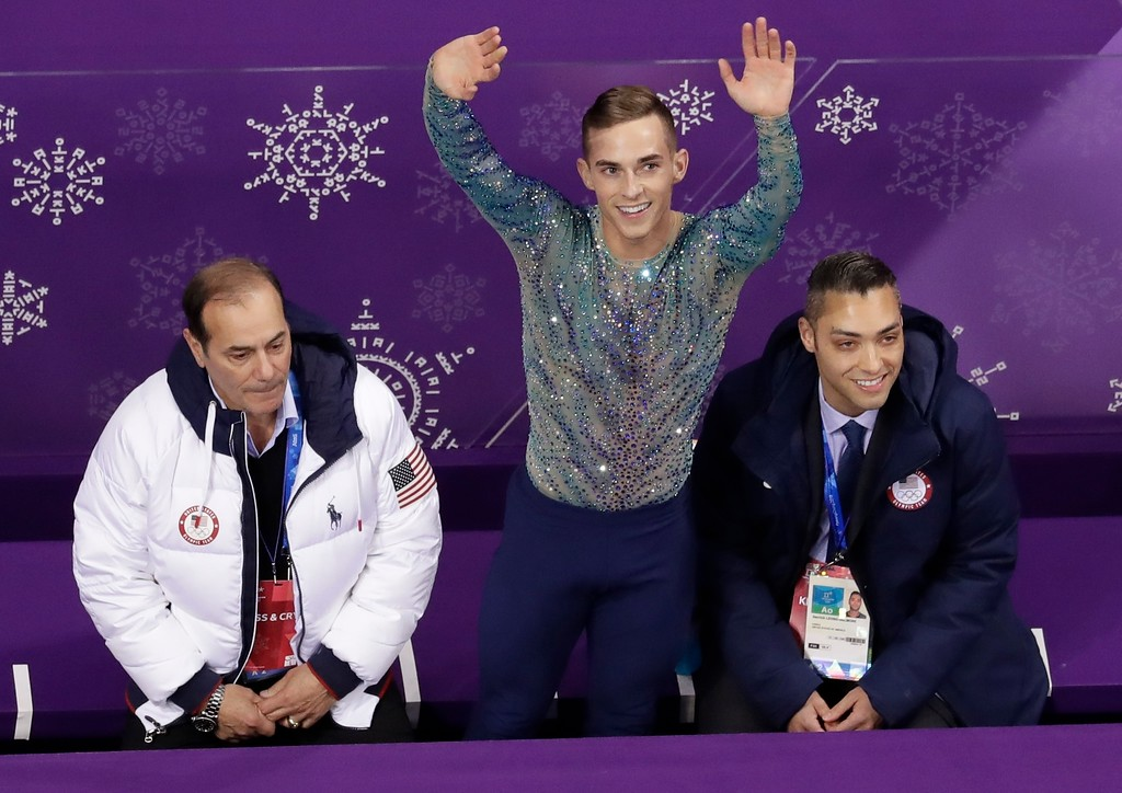 . Adam Rippon of the United States reacts as he receives his scores during the men\'s free figure skating final in the Gangneung Ice Arena at the 2018 Winter Olympics in Gangneung, South Korea, Saturday, Feb. 17, 2018. (AP Photo/Morry Gash)