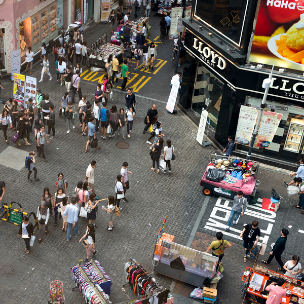 High angle view of people at town square, Seoul, South Korea