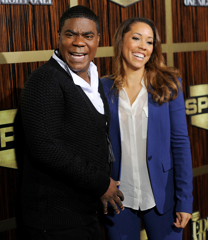 """. Tracy Morgan and his fiance Megan Wollover poses at  \""""Eddie Murphy: One Night Only,\"""" a celebration of Murphy\'s career at the Saban Theater on Saturday, Nov. 3, 2012, in Beverly Hills, Calif. (Photo by Chris Pizzello/Invision)"""
