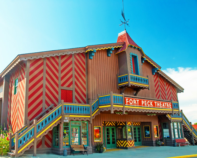 The orange, yellow and blue colors of Fort Peck Theatre in Montana.