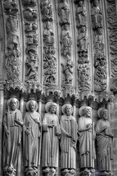 Notre-Dame cathedral, Paris - facade detail.
