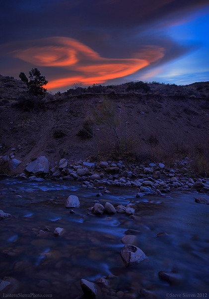 Lenticular clouds over the Walker River in the Eastern Sierra Nevada.