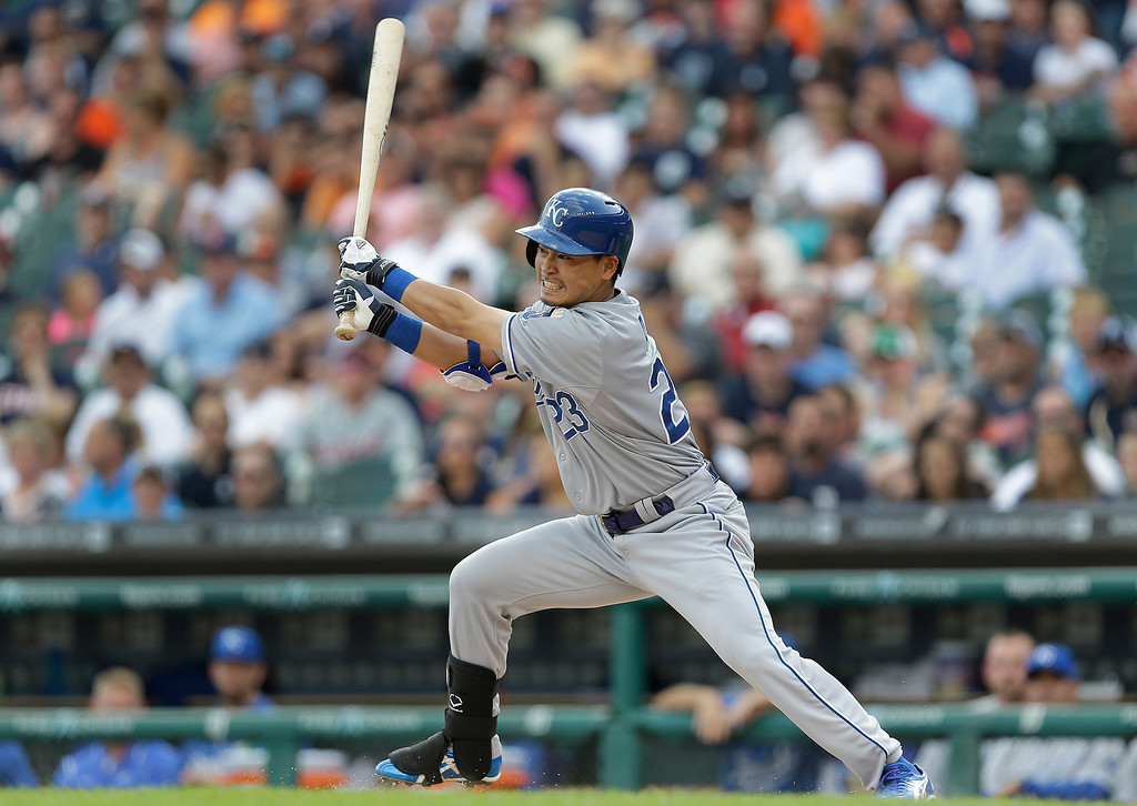 . Kansas City Royals\' Norichika Aoki bats against the Detroit Tigers in the first inning of a baseball game in Detroit, Monday, June 16, 2014.  (AP Photo/Paul Sancya)