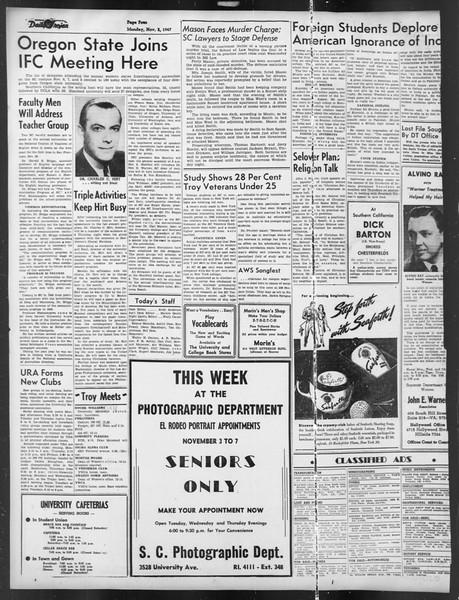 Daily Trojan, Vol. 39, No. 36, November 03, 1947