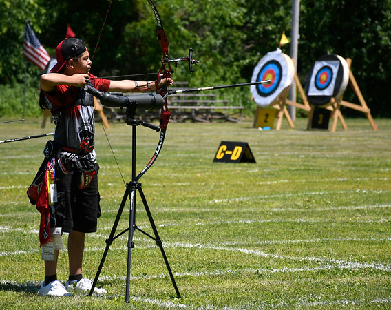 6/16/2018 Mike Orazzi | Staff Bryan Syman during archery at the Nutmeg State Games Saturday in New Britain.