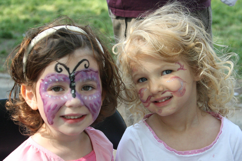Friends enjoying the face painting