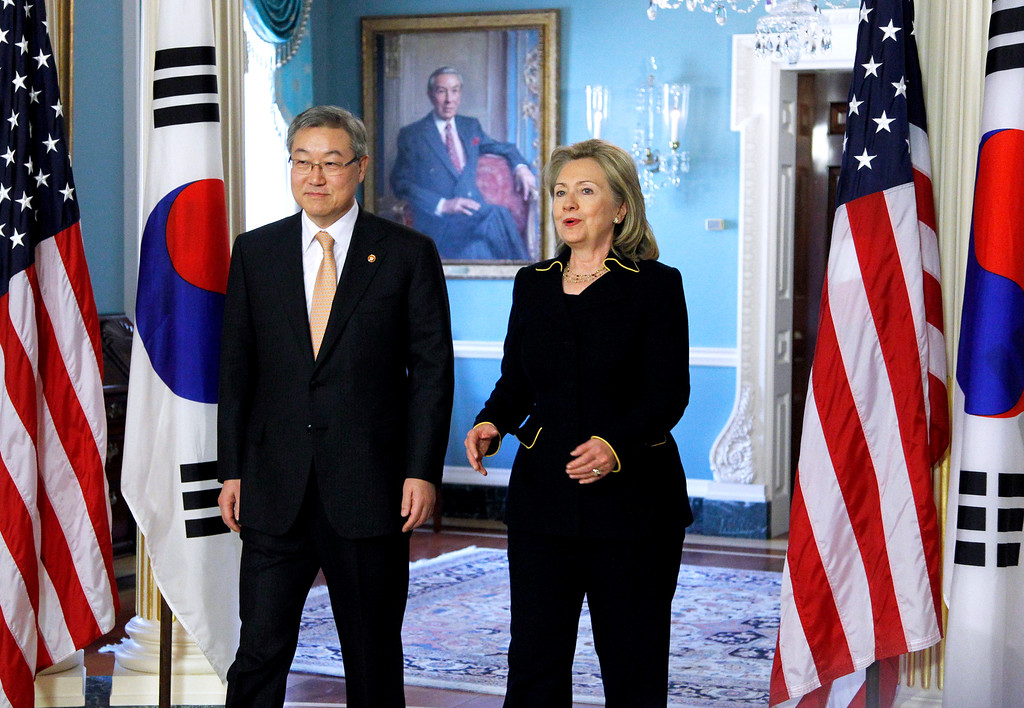 . State Secretary Hillary Rodham Clinton meets South Korean Foreign Minister Kim Sung-hwan at the State Department in Washington, Monday, Dec. 6, 2010.   (AP Photo/Manuel Balce Ceneta)
