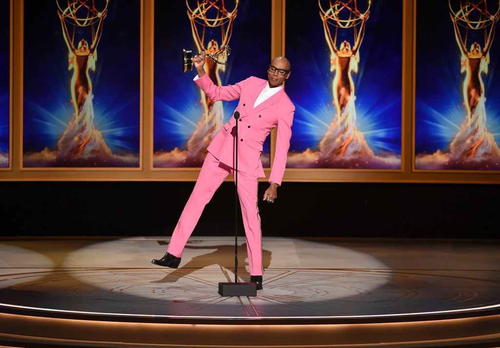 ". RuPaul Charles accepts the award for outstanding host for a reality or reality-competition program for ""RuPaul\'s Drag Race\"" during night two of the Television Academy\'s 2018 Creative Arts Emmy Awards at the Microsoft Theater on Sunday, Sept. 9, 2018, in Los Angeles. (Photo by Phil McCarten/Invision/AP)"
