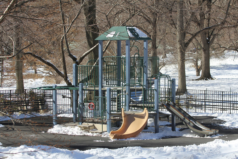 Central Park playground in winter