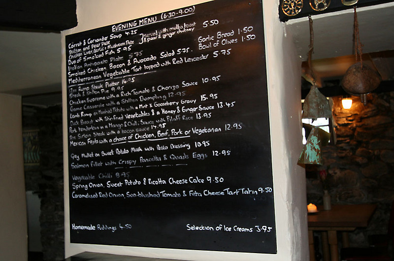 Unfortunately, eating out is never cheap in the UK.  Prices here are in pounds (£1 = US$2).