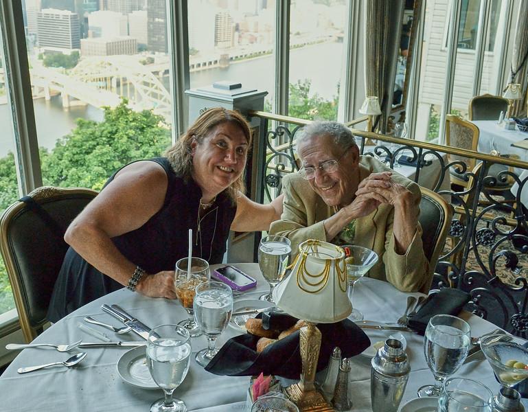 Dinner at LeMont restaurant, Pittsburgh PA. Larry Lebin, Patty, Barry, Linda, Nick, FL. July 31 2014
