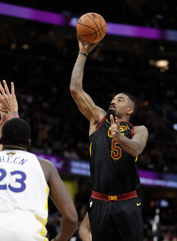 . Cleveland Cavaliers\' JR Smith shoots in the second half of Game 4 of basketball\'s NBA Finals, Friday against the Golden State Warriors, June 8, 2018, in Cleveland. (AP Photo/Tony Dejak)