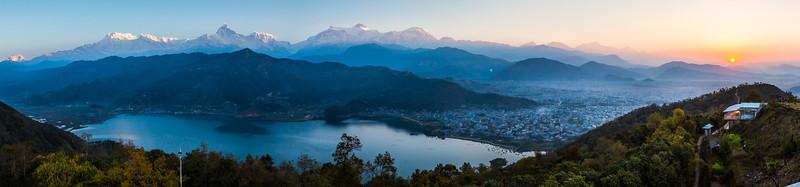 Pokhara and Himalaya sunset