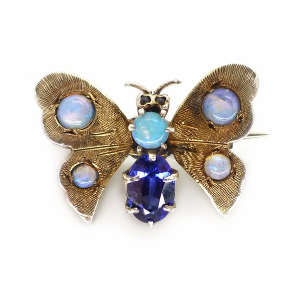 Antique Silver Gilt Opal Blue Spinel Butterfly Insect Brooch