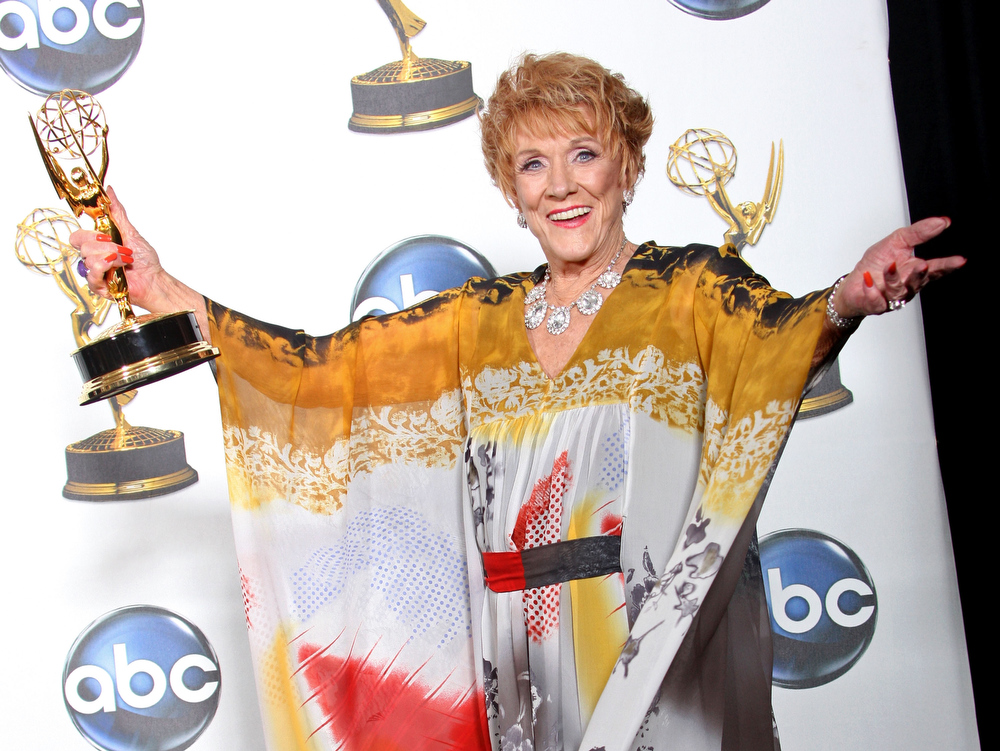 ". Actress Jeanne Cooper poses with the Outstanding Lead Actress in a Drama Series award for ""The Young and the Restless\"" in the press room at the 35th Annual Daytime Emmy Awards held at the Kodak Theatre on June 20, 2008 in Hollywood, California.  (Photo by Frederick M. Brown/Getty Images)"