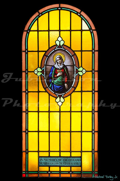 Though this window is in St. Joseph Catholic Church in Crescent City, CA, this is a surviving window from the previous St. Joseph's that had burned down.
