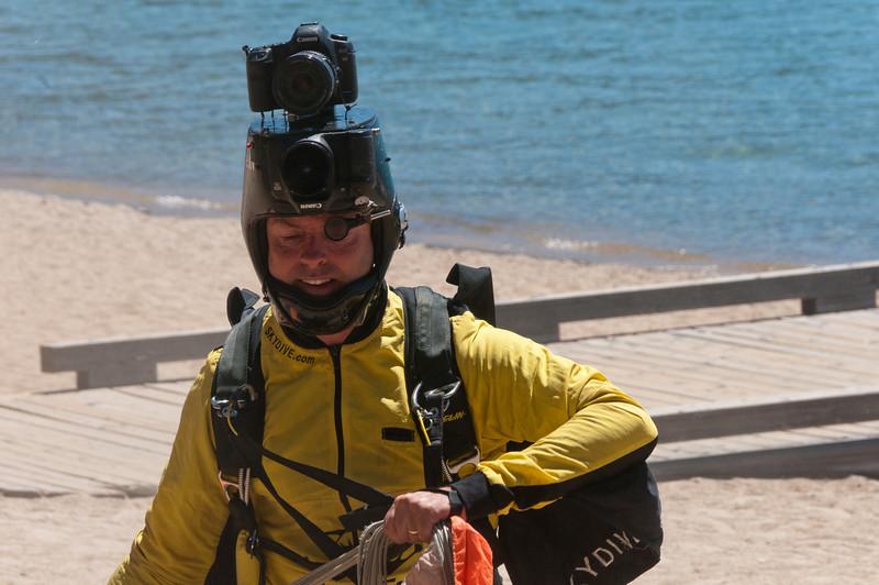 Skydiver in Lake Tahoe, Nevada