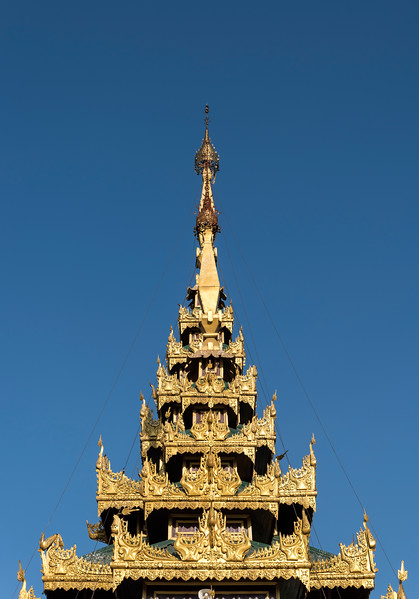 Detail of ornate roof, Shwedagon Pagoda, Yangon (Rangoon), Myanmar (Burma)