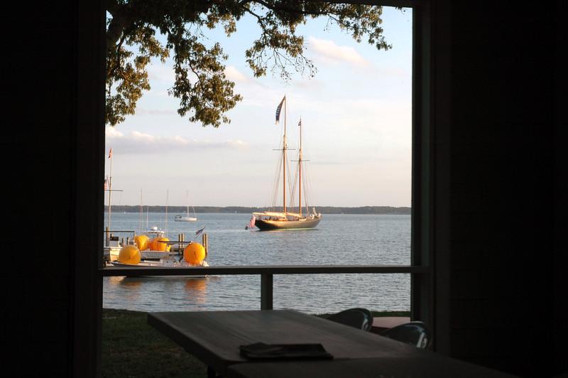 Schooner Virginia as seen through the FBYC porch.